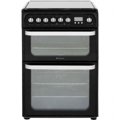 Hotpoint HUD61KS 60Cm Double Oven Dual Fuel Black Cooker With Gas Hob