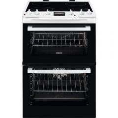 Zanussi ZCV66078WA 60Cm Double Electric Oven With Ceramic Top Cooker